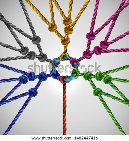 Connected to a rope network group as an individual connecting to diverse teams coming together to a central point as an abstract communication concept with linked ropes. #1482447416