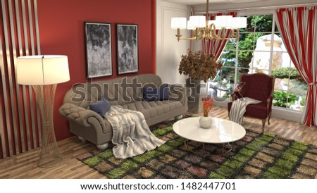 Interior of the living room. 3D illustration. #1482447701