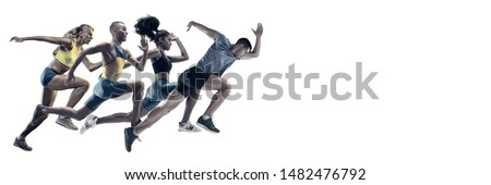 Creative collage of photos of 4 models running and jumping. Ad, sport, healthy lifestyle, motion, activity, movement concept. Male and female sportsmans of different ethnicities. White background. Royalty-Free Stock Photo #1482476792