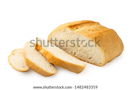 Round bread sliced on a white background. Isolated #1482483359