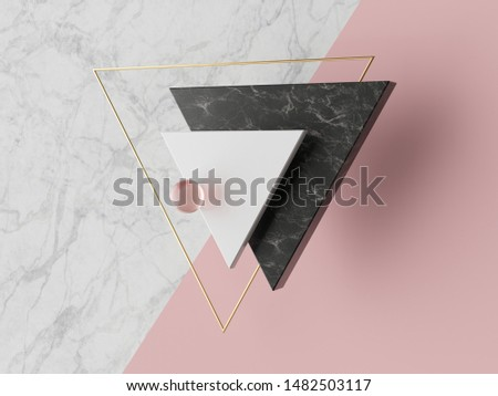 3d abstract modern minimal background, white triangular canvas, black white marble texture, golden frame, triangle, geometric fashion scene, pastel pink, simple clean design, trendy blank mockup