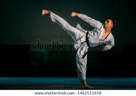 Karate man posing on a dark background wearing white kimono Royalty-Free Stock Photo #1482511658