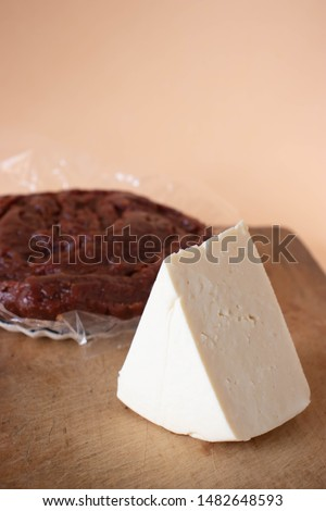 Brazilian typical dessert with guava paste, cheese  on a beige background #1482648593