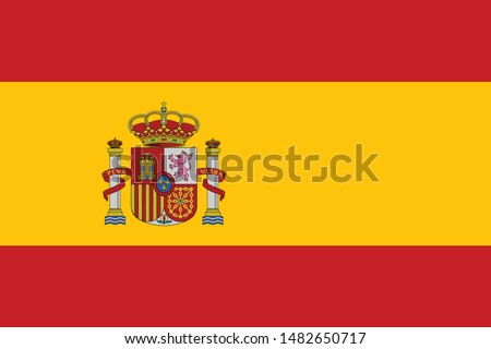 National Spain flag, official colors and proportion correctly. National Spain flag. Vector illustration. EPS10. Spain flag vector icon, simple, flat design for web or mobile app. #1482650717
