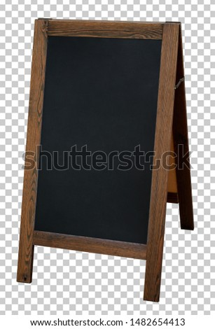 Blank wooden foldable sidewalk sign, signboard mockup or mock up template isolated on transparent background including clipping path.