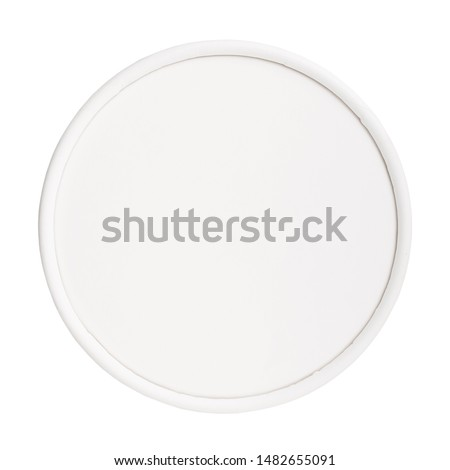 White round paper lid isolated on white background. Paper round lid mockup isolated on white background. Flat lay. Top view