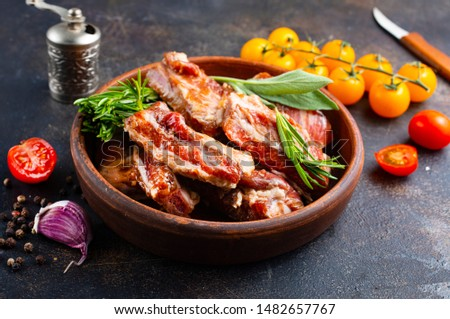 Raw ribs meat with herbs, salt, spices and other ingredients #1482657767