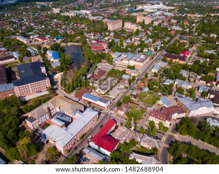 Aerial view of Yegoryevsk - Russian town and administrative center in sunny spring day #1482688904