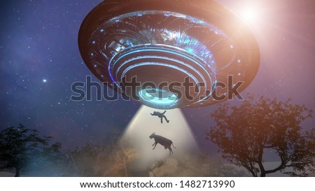 3D Illustration of Man and cow floating to inside of ufo alien ship. Concept of alien abduction 3d render Royalty-Free Stock Photo #1482713990