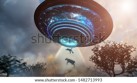 3D Illustration of Man and cow floating to inside of ufo alien ship. Concept of alien abduction 3d render Royalty-Free Stock Photo #1482713993