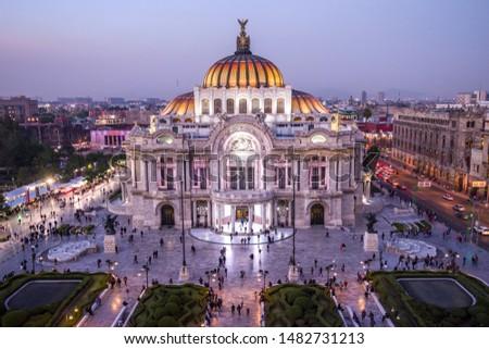 Mexico City, Mexico - 12/18/2018: Overlooking Palacio de Bella Artes #1482731213
