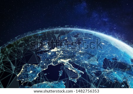 Telecommunication network above Europe viewed from space with connected system for European 5g LTE mobile web, global WiFi connection, Internet of Things (IoT) technology or blockchain fintech, 3d 8k #1482756353