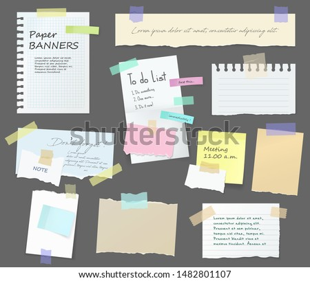 Paper notes on stickers, notepads and memo messages torn paper sheets. Vector blank sticky notepaper posts of meeting reminder, to do list and office notice or information board with appointment notes #1482801107