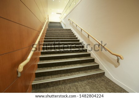 Empty stair with steel wood - Indoor modern architecture #1482804224