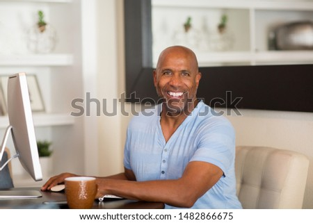African American man working from his home office. #1482866675