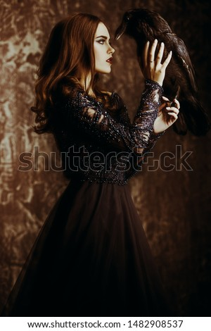 A witch a dress with a raven. Halloween. Celebration. Royalty-Free Stock Photo #1482908537