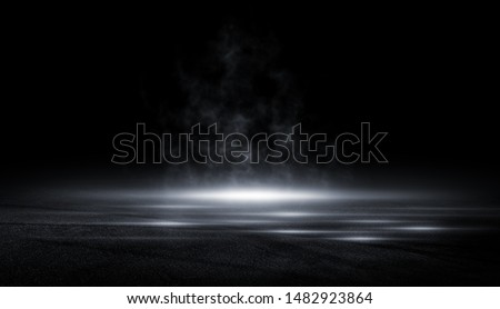 3D Rendering abstract asphalt light in  dark street and smoke on black background