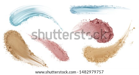 Skin foundation smears, dry powder, eye shadows makeup brush strokes set. Beauty make up cosmetics texture swatch, smudge trace samples isolated on white background. Realistic 3d vector illustration Royalty-Free Stock Photo #1482979757