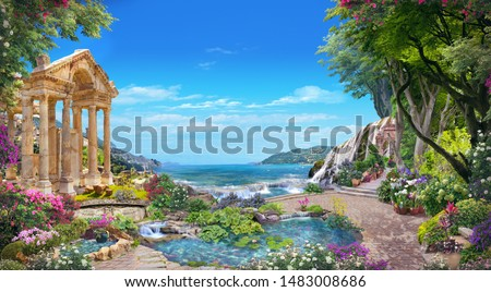Beautiful sea view from a Roman garden with flowers and a lake.  Digital collage , mural and fresco. Wallpaper. Poster design. Modular panno. 3d render