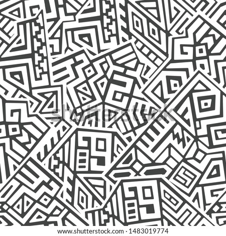 Creative ethnic style vector seamless pattern. Unique geometric vector swatch. Perfect for screen background, site backdrop, wrapping paper, wallpaper, textile and surface design. Trendy boho tile.