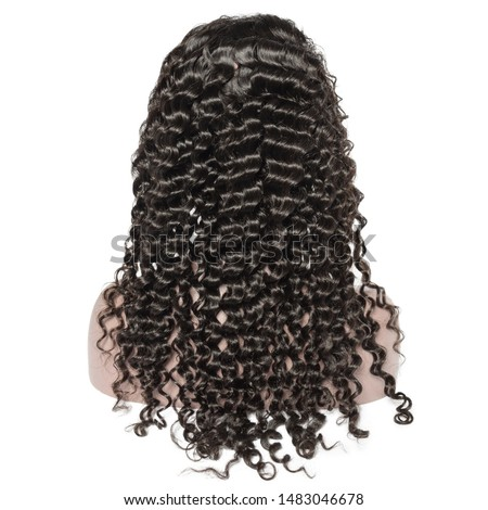 curly black human hair weaves extensions lace wigs on fake model Royalty-Free Stock Photo #1483046678