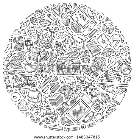 Line art hand drawn set of School cartoon doodle objects, symbols and items. Round composition