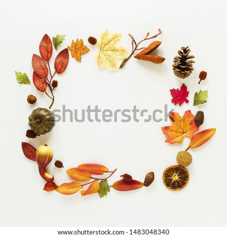 Flat lay autumn leaves frame with copy space #1483048340