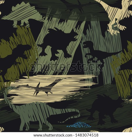 Seamless  camouflage Dino pattern, print for T-shirts, textiles, wrapping paper, web. grunge design for boys and girls Royalty-Free Stock Photo #1483074518