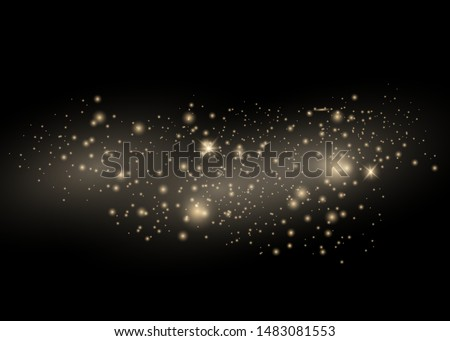The dust sparks and golden stars shine with special light. Vector sparkles on a transparent background. Christmas light effect. #1483081553