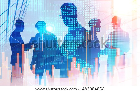 Silhouettes of businessmen working together and talking in abstract city with double exposure of world map and graphs. Concept of teamwork. Toned image #1483084856