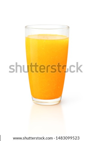 Glass of 100% Orange juice with pulp isolate on white background, Clipping path. #1483099523