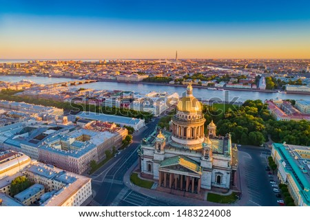 Saint Petersburg. Russia. St. Isaac's Cathedral aerial view. St. Isaac's Cathedral on the background of sunrise. Bus tours of Saint Petersburg. Traveling to the cities of Russia. Russian Federation. #1483224008