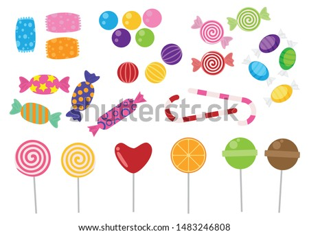 Sweets and candies icon vector set on white background #1483246808