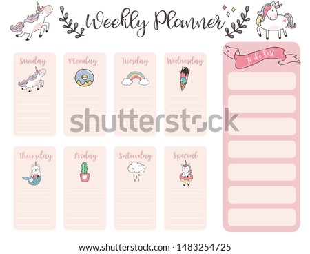 cute weekly planner background with unicorn,rainbow,ice cream,cloud.Vector illustration for kid and baby.Editable element #1483254725
