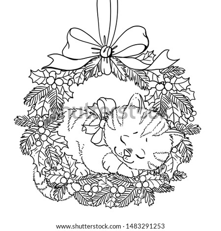 Christmas wreath. Coloring page. Doodle pattern with cute sleeping kitten and a bow
