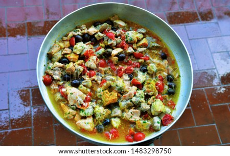 fish stew with pan-cooked olives #1483298750