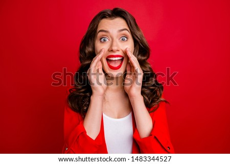 Beautiful lady sharing rumours with crowd dressed formal wear red jacket isolated burgundy background #1483344527