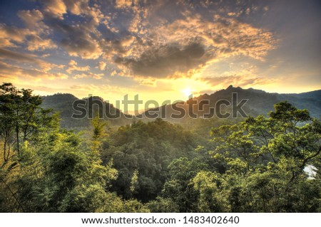 Beautiful morning with sunrise and landscape  #1483402640