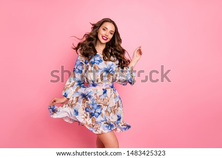 Nice lady overjoyed by warm spring breeze going romantic date wear cute dress isolated pink background Royalty-Free Stock Photo #1483425323