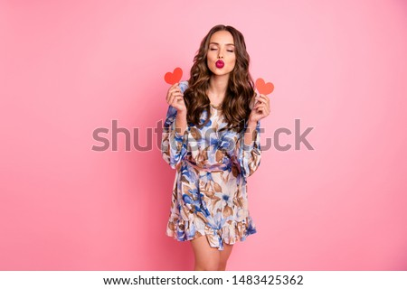 Portrait of her she nice-looking attractive lovely lovable feminine cheerful cheery wavy-haired girl holding in hands two small little heart sending you kiss isolated over pink background #1483425362