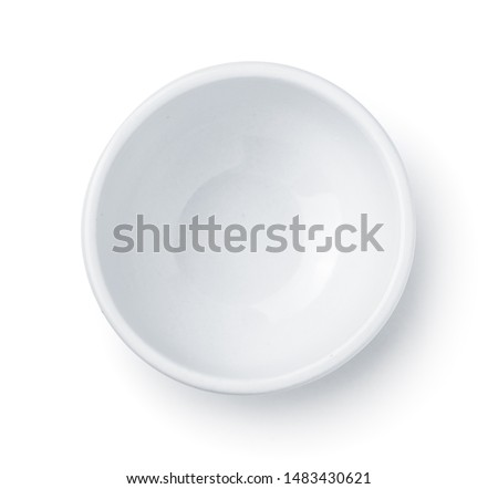 Top view of white empty ceramic dip bowl isolated on white #1483430621