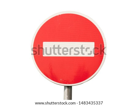 Red traffic sign is prohibited on a white background
