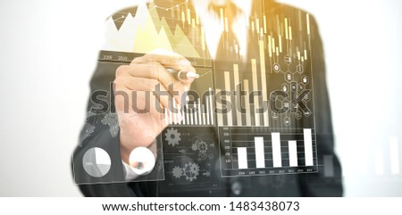 Businessman analysis diagram. Business graph background. financial graph                                #1483438073
