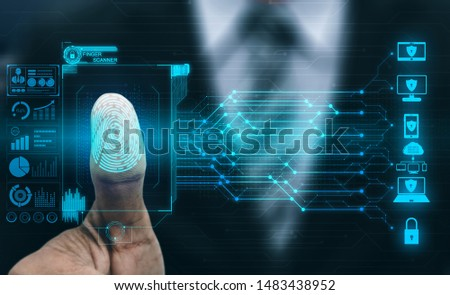 Fingerprint Biometric Digital Scan Technology. Graphic interface showing man finger with print scanning identification. Concept of digital security and private data access by use fingerprint scanner. #1483438952