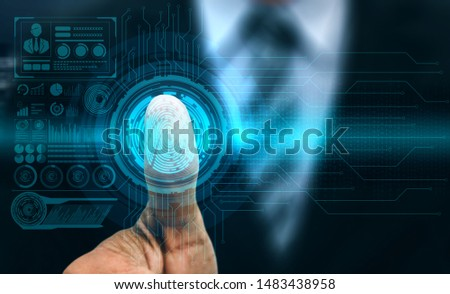 Fingerprint Biometric Digital Scan Technology. Graphic interface showing man finger with print scanning identification. Concept of digital security and private data access by use fingerprint scanner. #1483438958