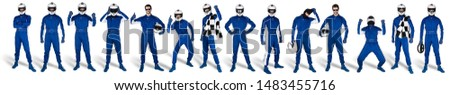 Collection of blue overall race driver set with saftey crash helmet and chequered checkered flag isolated on white background. motorsport car racing sport concept #1483455716