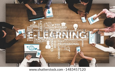 E-learning and Online Education for Student and University Concept. Graphic interface showing technology of digital training course for people to do remote learning from anywhere. #1483457120
