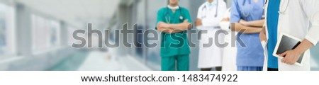 Healthcare people group. Professional doctor working in hospital office or clinic with other doctors, nurse and surgeon. Medical technology research institute and doctor staff service concept. #1483474922