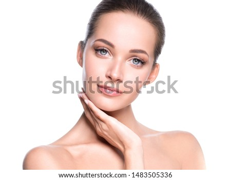 Beauty skin woman healthy hair and skin care young girl model #1483505336