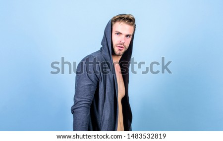 Unconventional but masculine look. Masculinity concept. Masculinity and confidence. Brute masculinity extremely commanding looking conventionally handsome. Man well groomed handsome hooded clothes. #1483532819